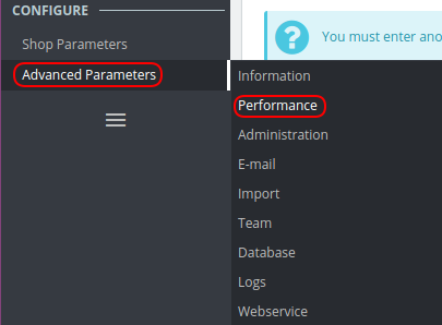 Advanced Parameters Prestashop